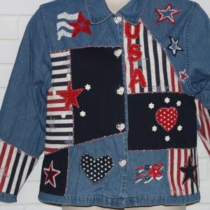Tantrums Tops - Tantrums Sz M Blue Heavy Denim Patchwork Patriotic